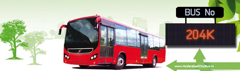 204K no Bus Route Hyderabad City Bus Timings, Route 204K Bus Stops, Frequency, 204K First & Last Bus